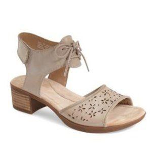 NEW Dansko Liz Lace-up Laser Cut Block Heel Sandal